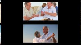 Montaje de la gente mayor almacen de metraje de vídeo
