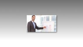 Montaje de la gente que da una presentación de la oficina