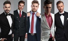 Montaje de la imagen de cinco hombres jovenes atractivos que llevan los trajes imagen de archivo libre de regalías