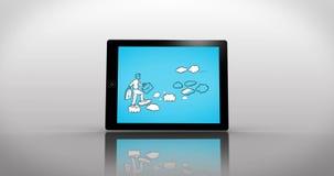 Montaje de la progresión del negocio exhibido en diversas medias pantallas libre illustration