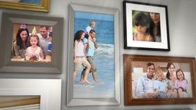 Montaje de las familias que se divierten junto almacen de metraje de vídeo
