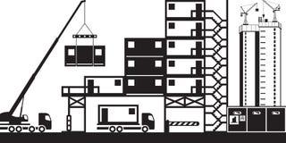 Montaje de las oficinas del sitio en la construcción ilustración del vector