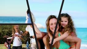 Montaje de las vacaciones de familia almacen de metraje de vídeo