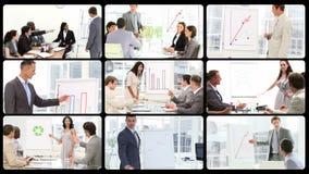 Montaje de los encargados que hacen presentaciones almacen de video