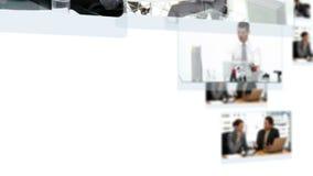 Montaje de los equipos del negocio que colaboran metrajes