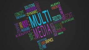 Montaje de los palabras de moda de las multimedias stock de ilustración