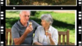 Montaje de los pares mayores que se relajan almacen de metraje de vídeo