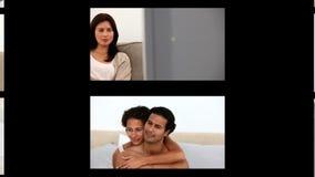Montaje de los pares que comparten momentos románticos metrajes
