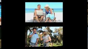 Montaje de pares mayores activos almacen de video