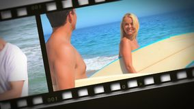 Montaje de pares románticos en la playa almacen de metraje de vídeo