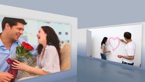 Montaje del pares románticos almacen de metraje de vídeo