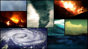 Montaje del tiempo severo y del desastre almacen de metraje de vídeo