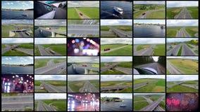 Montaje del transporte Tráfico aéreo, cargo, fondo del transporte de la entrega para su vídeo metrajes