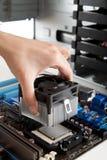 Montaje del ventilador en la CPU Imagen de archivo