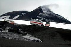 Montaje el Etna de la erupción fotografía de archivo