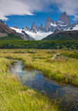 Montaje Fitz Roy, Los Glaciares NP, la Argentina Imagenes de archivo
