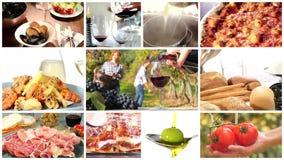 Montaje italiano de la comida almacen de video