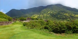Montaje Liamuiga de la colina del azufre - St San Cristobal Fotografía de archivo