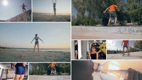 Montaje múltiple Gente invopved en aptitud sana Concepto sano de la forma de vida metrajes