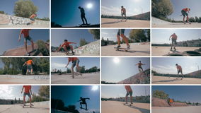 Montaje: multiscreen al skater mueve de un tirón en la puesta del sol Se divierte el fondo metrajes