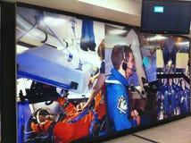 Montaje mural de la NASA de astronautas americanos con los años de exploración espacial Fotografía de archivo