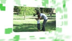 Montaje sobre las familias en un parque almacen de metraje de vídeo