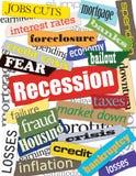 Montajes de la economía y de la recesión