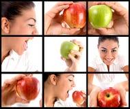 Montajes de la foto de la mujer que comen la manzana Fotos de archivo libres de regalías