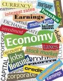 Montajes de la palabra de la economía Fotografía de archivo