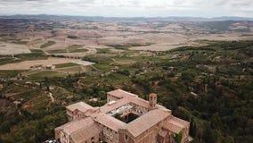 View of Montalcin City Brunello Italy Stock Footage