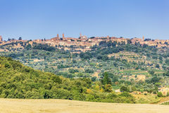 Montalcino-Stadt in Toskana Stockbild