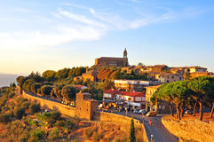 Montalcino on sunset, Italy Stock Photos