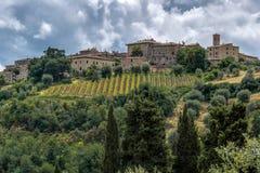 MONTALCINO, TUSCANY/ITALY - 20 MAGGIO: Vista fino a Montalcino Tusca fotografia stock libera da diritti