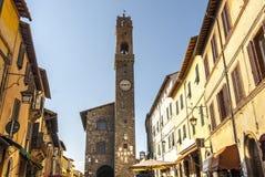 Montalcino (Tuscany). Montalcino (Siena, Tuscany, Italy) - The main street and the clock tower Royalty Free Stock Images
