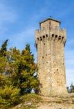 Montalen, tredje sanmarinska torn Arkivbilder