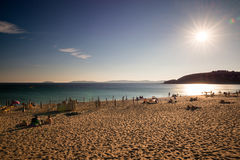 Montalvo plaża w Rias Baixas w Pontevedra przy półmrokiem Obrazy Royalty Free
