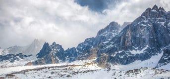 Montan@as francesas - macizo de Mont Blanc fotos de archivo