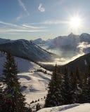 Montan@as Snowscape Foto de archivo libre de regalías