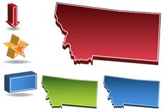 Montana 3D. Set of 3D images of the State of Montana with icons Royalty Free Stock Images
