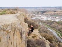 Montana abseil rimrocks Fotografia Royalty Free