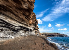 Montana Amarilla in Costa del Silencio. Tenerife Stock Photo