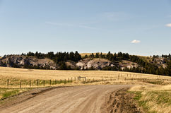Montana Backroad. Dirt roads, fields, a few trees, rocks, and lots of big sky...this is Montana stock photography