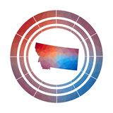 Montana badge. Bright gradient logo of us state in low poly style. Multicolored Montana rounded sign with map in geometric style for your infographics stock illustration