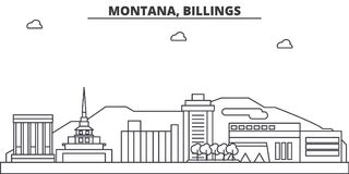 Montana, Billings architecture line skyline illustration. Linear vector cityscape with famous landmarks, city sights. Design icons. Editable strokes Stock Image
