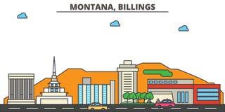 Montana, Billings.City skyline. Montana, Billings.City skyline: architecture buildings, streets silhouette, landscape panorama, landmarks. Editable strokes Stock Images