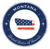 Montana circular patriotic badge. Grunge rubber stamp with USA state flag, map and the Montana written along circle border, vector illustration royalty free illustration