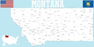 Montana County Map Stock Photo