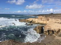 Montana De Oro California natural bridge archway. This park features rugged cliffs, secluded sandy beaches, coastal plains, streams, canyons, and hills Stock Photo