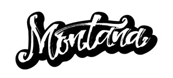 montana etikett Modern kalligrafihandbokstäver för serigrafitryck Royaltyfria Bilder