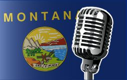 Montana Flag And Microphone Background Photos stock